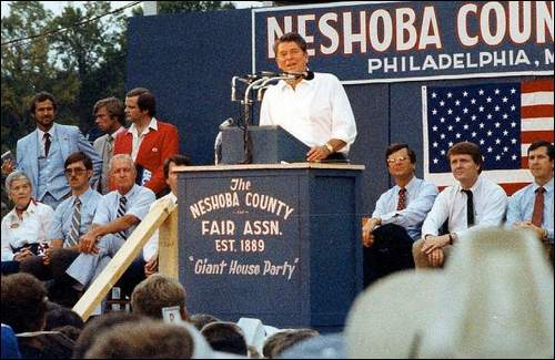 Ronald Reagan speaks in Mississippi on the campaign trail, 1980